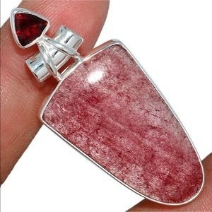 Strawberry Quartz and Garnet Silver Pendant